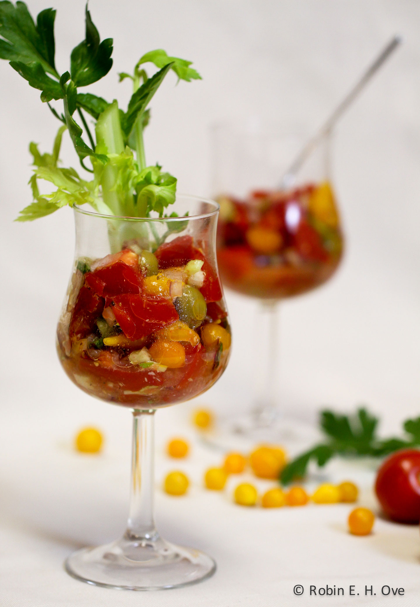 Cajun Bloody Mary Salad in Glass