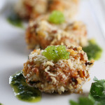 Crab Cakes with Lime Cilantro Aioli & Wasabi Caviar