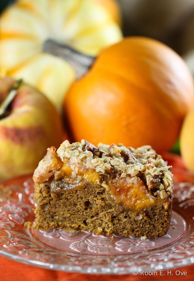 Pumpkin Spice Cake with Peaches