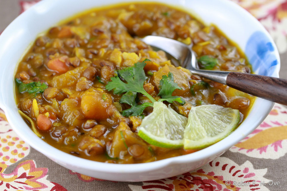 Indian Lentil Kabocha Squash Stew