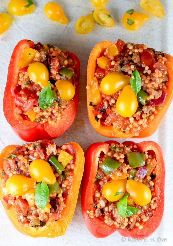 stuffed bell peppers ready for baking