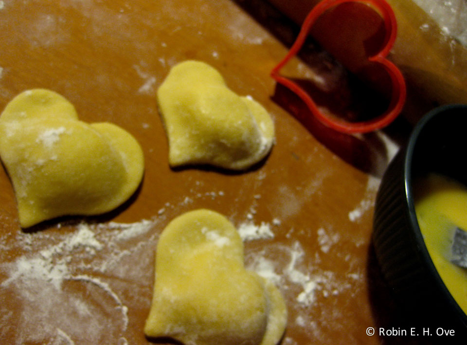heart-shaped ravioli