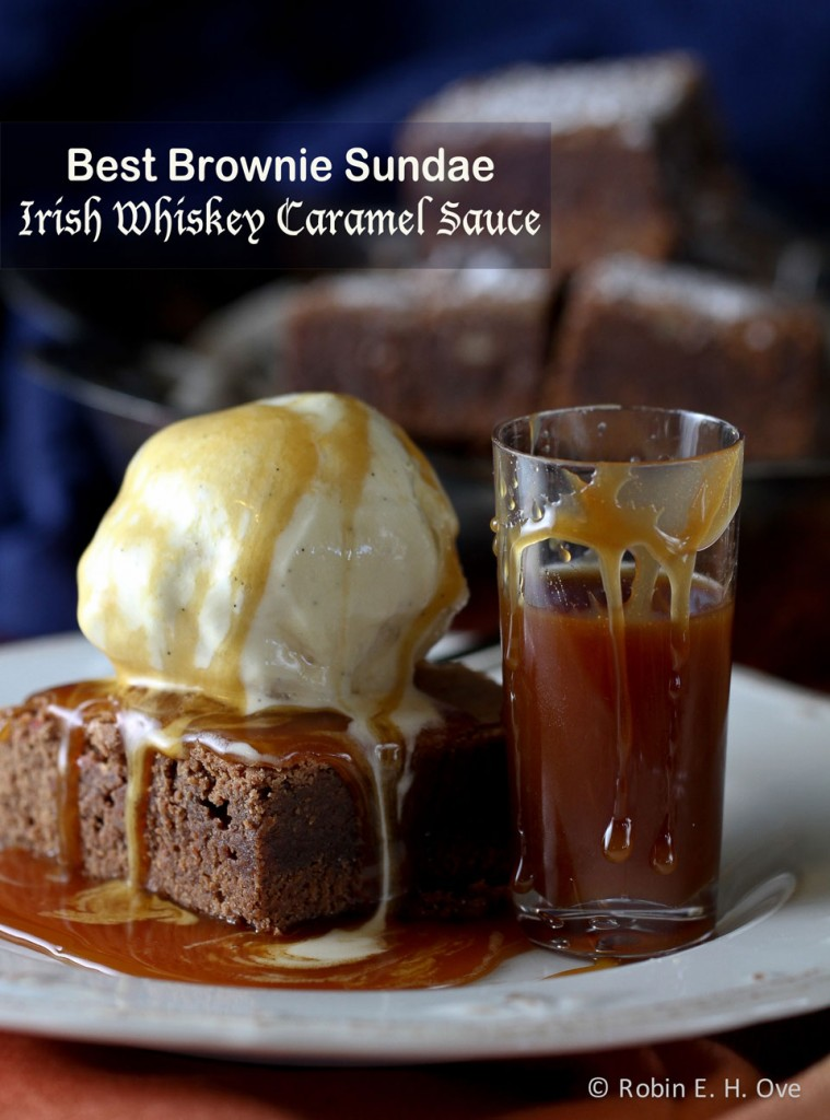 Chocolate Brownies with Irish Whiskey Caramel Sauce