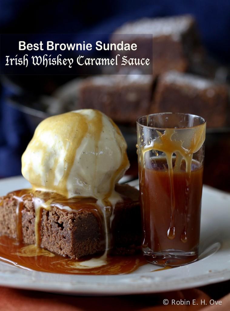 Chocolate Brownies with Irish Whiskey Caramel Sauce