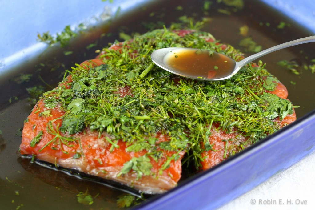Basting salmon with brine