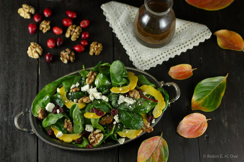 kale spinach salad with persimmon dressing
