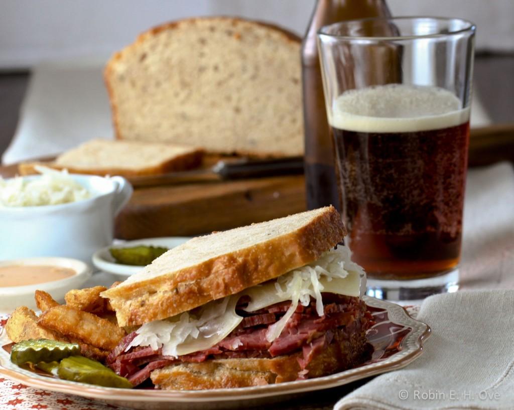 Reuben Sandwich and Beer