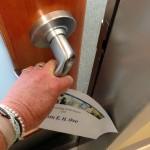 Hand closing door