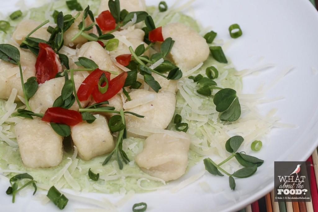 Close up Ricotta Gnocchi and Fresh Pea Sauce