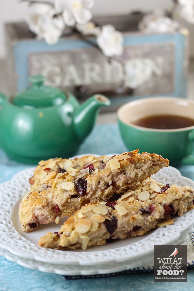 Oatmeal Cherry Scones and Tea