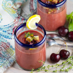 Cherry Gazpacho in Glasses