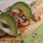 Ceviche Topped Swai with Wasabi Kissed Avocado Creme