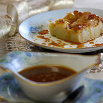 Bread Pudding with Gingered Brandy Pears and Caramel Sauce