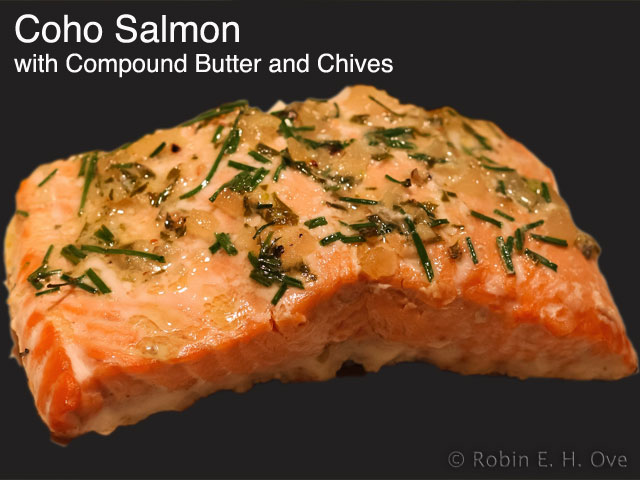 cooked salmon with butter and herbs