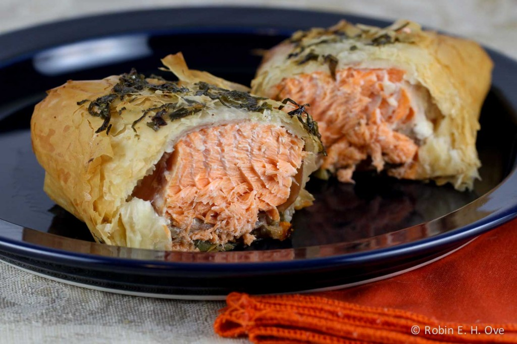 Baked Salmon in Phyllo and Vegetables