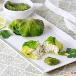 Lettuce-wrapped Halibut with Spinach Salsa Verde