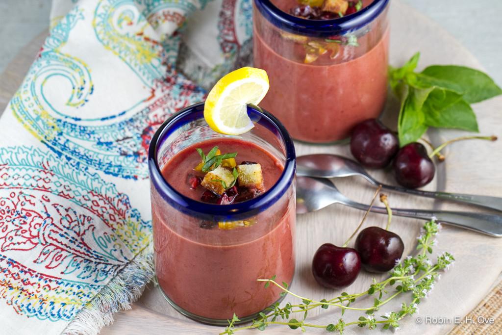 Cherry Gazpacho in Glasses
